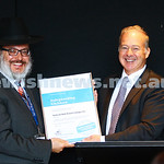 11-4-16. Accreditation presentation. Safeguarding children program. Rabbi Yehoshua Smukler receives accreditation certificate from Andrew Blode, CEO of Jack and Robert Smorgon Families Found ...