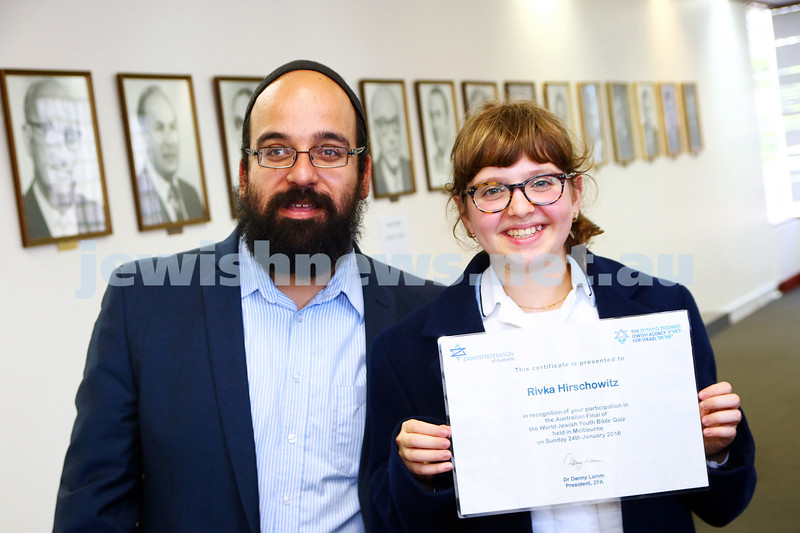 24-1-16. ZFA bible quiz held at Beth Weizmann. Winner Rivka Hirschowitz from Beth Rivka Ladies College with her bible studies teacher Yonatan Barukh. Photo: Peter Haskin