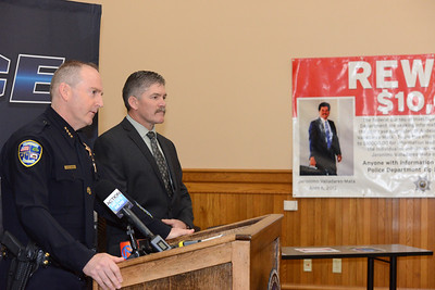 The FBI is offering a $10,000 reward for information leading to the arrest and conviction of the killer or killers of two brothers, Jeronimo Valladares-Mata and Audelino Valladares-Mata. Chico police Chief Mike O'Brien, left, speaks Wednesday, April 19, 2017, with head of the department's Detective Bureau Lt. Ted McKinnon standing by at the Old Municipal Building in Chico, California. (Dan Reidel -- Enterprise-Record)