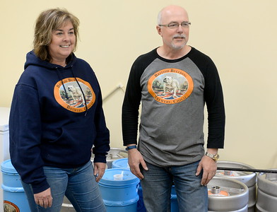 Alison  and Steve Kay stand among the kegs as they talk about their British Bulldog Brewery during a tour of the facility in Chico, Calif Mon. April 17, 2017.  (Bill Husa -- Enterprise-Record)
