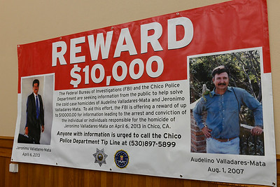 The FBI is offering a $10,000 reward for information leading to the arrest and conviction of the killer or killers of two brothers, Jeronimo Valladares-Mata and Audelino Valladares-Mata. The reward poster is pictured Wednesday, April 19, 2017, at the Old Municipal Building in Chico, California. (Dan Reidel -- Enterprise-Record)