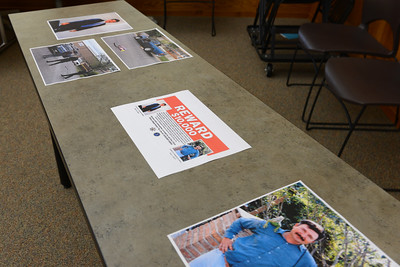 The FBI is offering a $10,000 reward for information leading to the arrest and conviction of the killer or killers of two brothers, Jeronimo Valladares-Mata and Audelino Valladares-Mata. Photos and the reward information are pictured Wednesday, April 19, 2017, at the Old Municipal Building in Chico, California. (Dan Reidel -- Enterprise-Record)