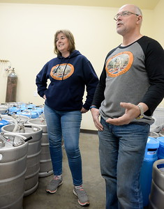 Steve and Alison Kay talk about their British Bulldog Brewery during a tour of the facility in Chico, Calif Mon. April 17, 2017. The golden retriever is Hugo.  (Bill Husa -- Enterprise-Record)