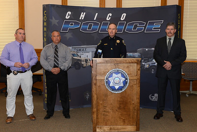 The FBI is offering a $10,000 reward for information leading to the arrest and conviction of the killer or killers of two brothers, Jeronimo Valladares-Mata and Audelino Valladares-Mata. Left to right, Chico Police Department Sgt. Scott Harris, Sgt. Cesar Sandoval, Chief Mike O'Brien and Lt. Ted McKinnon as O'Brien speaks Wednesday, April 19, 2017, about the reward at the Old Municipal Building in Chico, California. (Dan Reidel -- Enterprise-Record)
