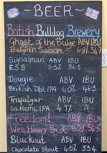 A board shows beers brewed at the British Bulldog Brewery seen during a tour of the facility in Chico, Calif Mon. April 17, 2017. The golden retriever is Hugo.  (Bill Husa -- Enterprise-Record)