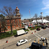 Jonathan Tressler - the News-Herald. The scene from the third floor of the Geauga County Courthouse Annex April 20 as crews work to finalize their presentations for the 87th Annual Geauga County Maple Festival, which runs April 21 - 24.