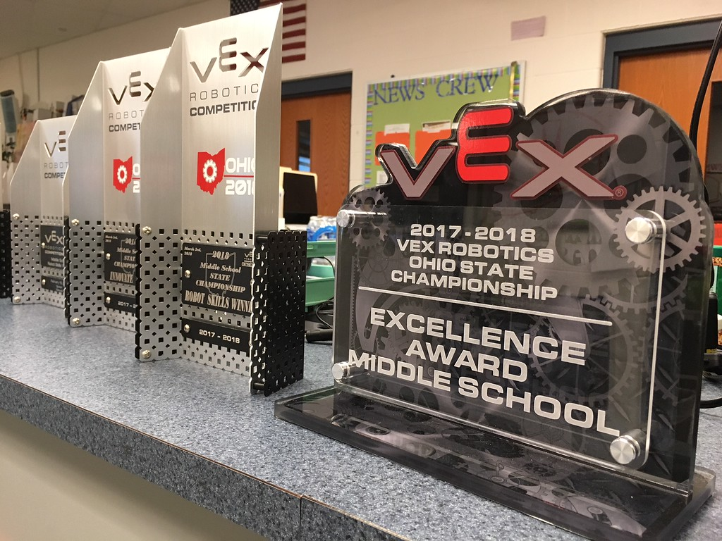 . Richard Payerchin - The Morning Journal <br> Lorain City Schools\' Longfellow Middle School Team Titanious Robotics has collected awards for their work this year with the robot Titanious. The team will head to the VEX Robotics World Championship, scheduled April 25 to 28 in Louisville.
