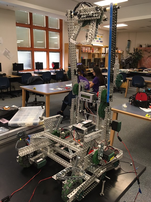 . Richard Payerchin - The Morning Journal <br> Longfellow Middle School robotics team member Titanious the robot sits on the work table on April 11, 2018. Lorain City Schools\' Longfellow Middle School Team Titanious Robotics will head to the VEX Robotics World Championship, scheduled April 25 to 28 in Louisville.