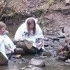 Submitted   Madison Middle School sixth-graders Melanie Hoffman, left, and Selma Nyberg conduct a stream study at the Holden Arboretum on April 28, 2016.
