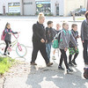 Hadden Elementary School students trek to school together on Walk & Bike to School Day, May 10. (Tawana Roberts, The News-Herald)