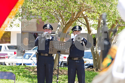 Photo by Shannon Wilson / Tyler Morning Telegraph Brennon Ewen and John Weaver play the National Anthem at the memorial for those in law enforcement who have died in the line of duty.