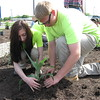 Richard Payerchin - The Morning Journal <br> Lorain County JVS students Brianna Vullien, 16, of Amherst, and Adam Lafferty, 17, of Elyria, help plant a Native Pollinator Plant Garden, the first of its kind along the Ohio Turnpike, at the Vermilion Valley service plaza, with 17 species of perennials native to Ohio and that will attract birds, butterflies and other wildlife. The students met with officials from Lorain County and the Ohio Turnpike and Infrastructure Commission on May 20, 2016, to create the garden.