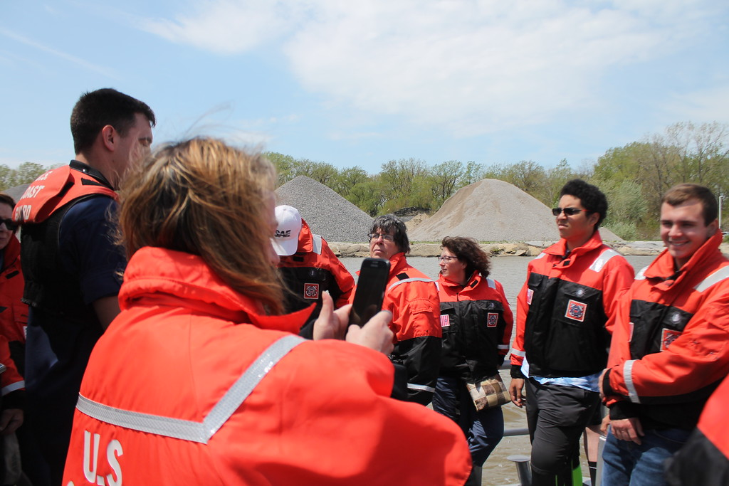 . The highlight for many attendees at the  USCG Fairport Station Open House on May 19, was a ride along the Grand River  on the $2.7 million 45\' foot response boat the Coast Guard uses for search and rescues while Guard members talk about how the boat is used. Kristi Garabrandt - The News-Herald