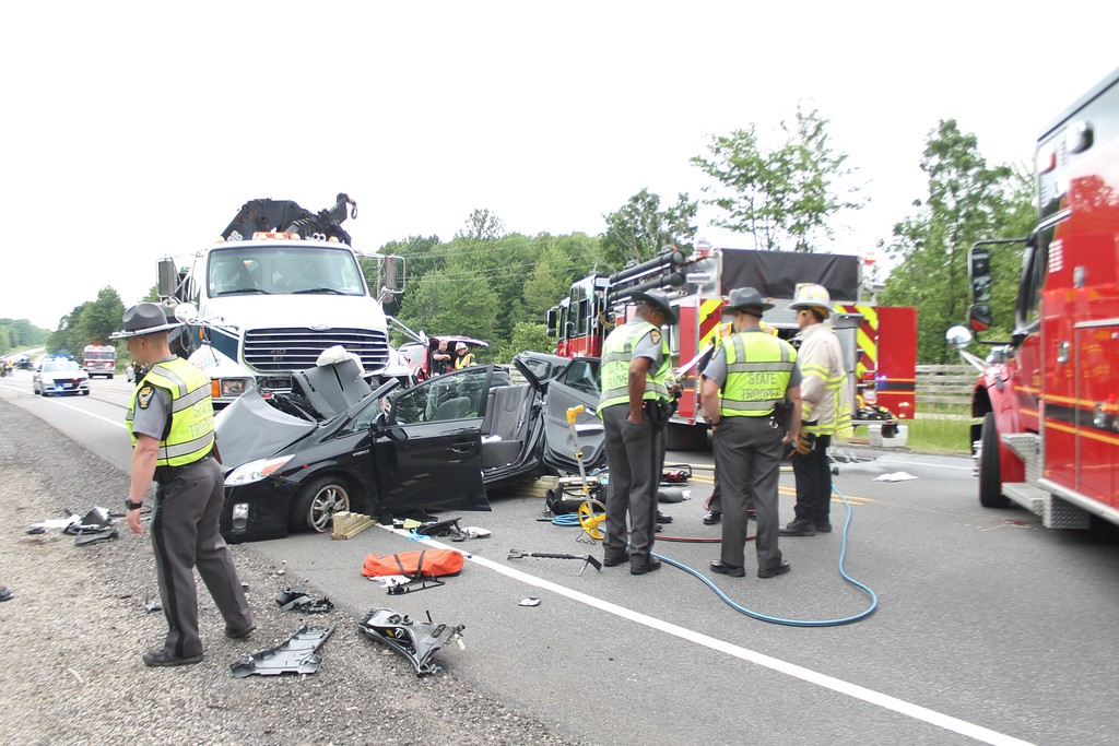 . Multiple fire departments and Ohio Highway Patrol were on the scene of the June 6, 2017, fatal crash on Route 44 in Chardon Township. (Kristi Garabrandt - The News-Herald�)