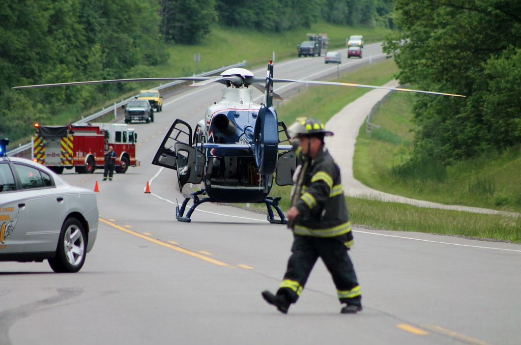. A MedEvac helicopter transports one of the victims involved in the June 6, 2017, fatal crash on Route 44 in Chardon Township to MetroHealth Medical Center in Cleveland with life-threatening injuries.  (Kristi Garabrandt - The News-Herald�)