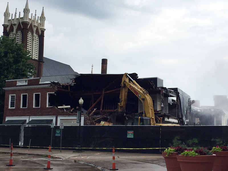 . Crews work to demolish the Dorthy Allen Building at 85 N. Park Place in Painesville on June 22.  (Submitted)