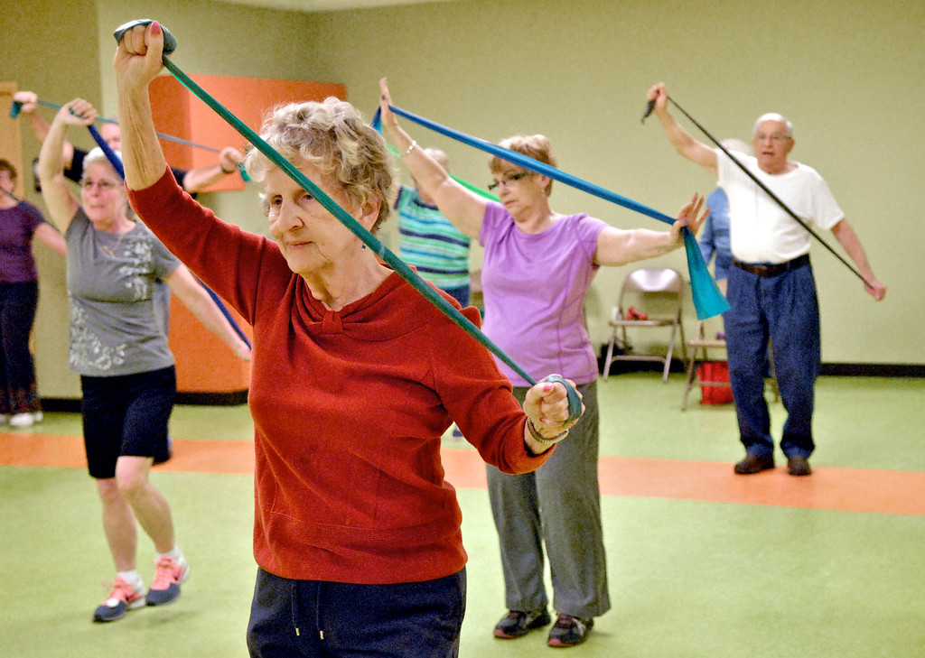 . Alice Kidd, of Mentor, works out in March 2015 during a low-impact senior aerobics class at the Painesville Senior Center. (News-Herald file)
