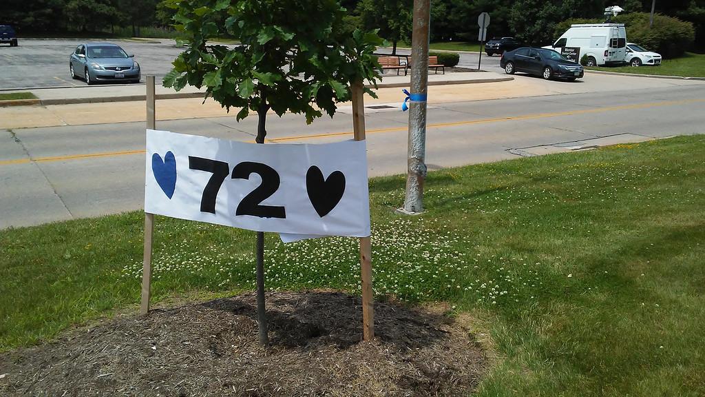 . Memorial outside Mentor Municipal Center for Ptl. Mat Mazany. (Betsy Scott - The News-Herald)