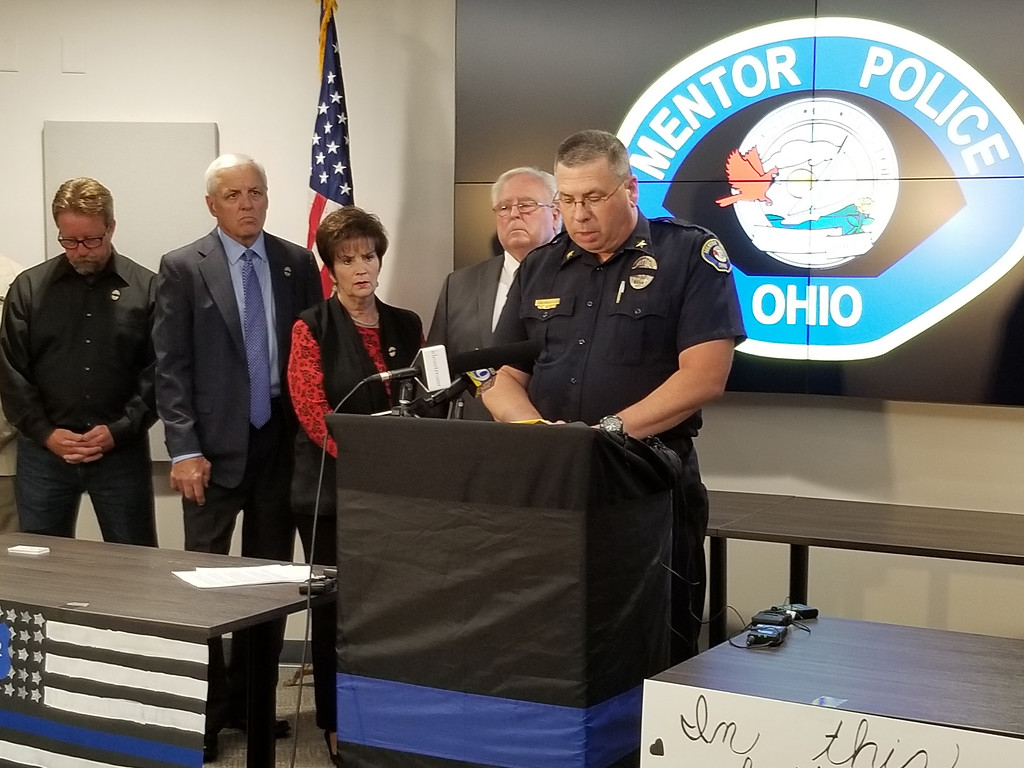 . Mentor Police Chief Kevin Knight speaks during a June 25 news conference at Mentor Municipal Center regarding the death of Ptl. Mat Mazany, who was fatally struck during a June 24 traffic stop on Route 2. To Knight\'s right at members of Mentor City Council. (Courtesy City of Mentor)
