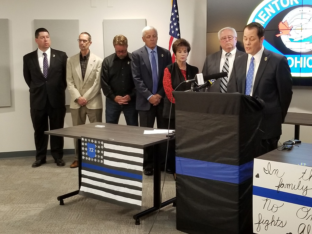 . Mentor City Manager Ken Filipiak speaks during a June 25 news conference at Mentor Municipal Center regarding the death of Ptl. Mat Mazany, who was fatally struck during a June 24 traffic stop on Route 2. To Filipiak\'s right at members of Mentor City Council. (Courtesy City of Mentor)