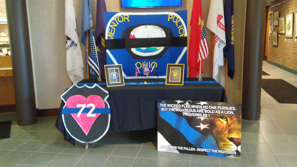 . A display in honor of Ptl. Mat Mazany at Mentor Municipal Center on June 25. (Betsy Scott - The News-Herald)