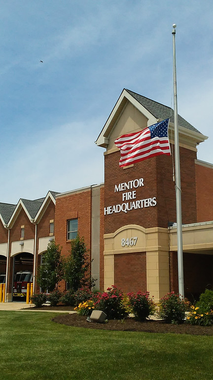 . The flag flies at half-staff at the Mentor Fire Department. (Betsy Scott - The News-Herald)