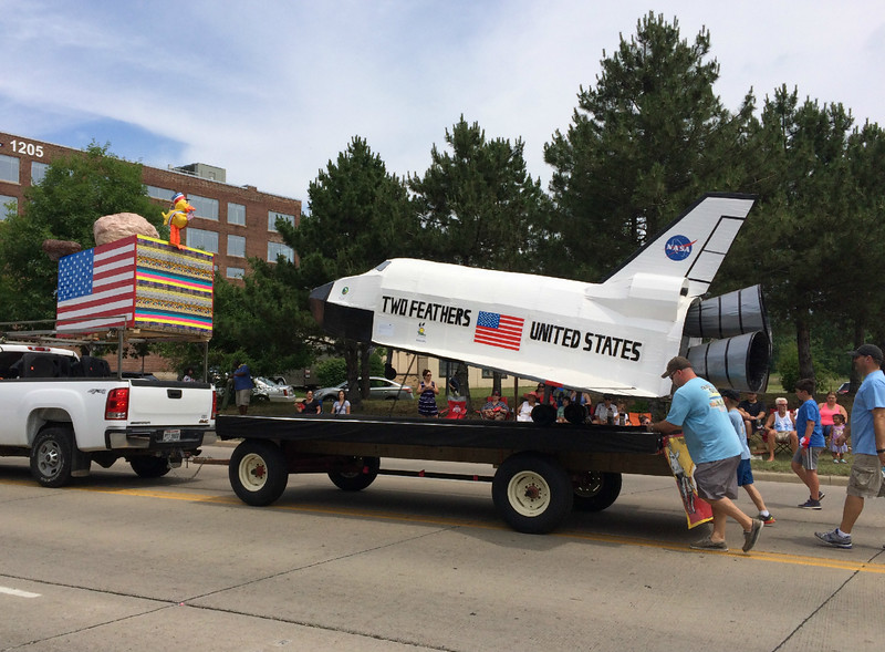 Carol Harper - The Morning Journal <br> Floats inspire discovery and science June 26, 2016, during Lorain Internation Festival Parade on Broadway Avenue in Lorain.