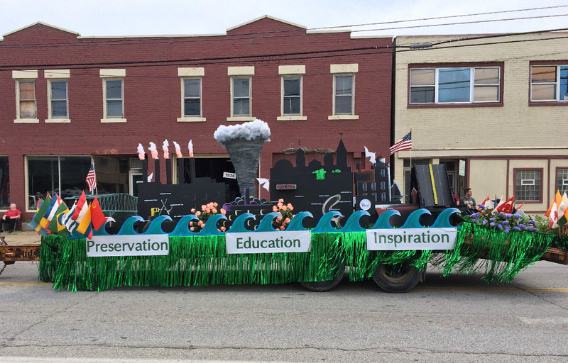 Carol Harper - The Morning Journal <br> A float presented by Lorain Historical Society shows landmarks and blue collar roots of the city June 26, 2016, during a 50th Anniversary Lorain International Festival Parade on Broadway Avenue in Lorain.