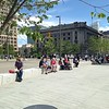 Onlookers at Public Square re-opening. Superior Avenue in the background.