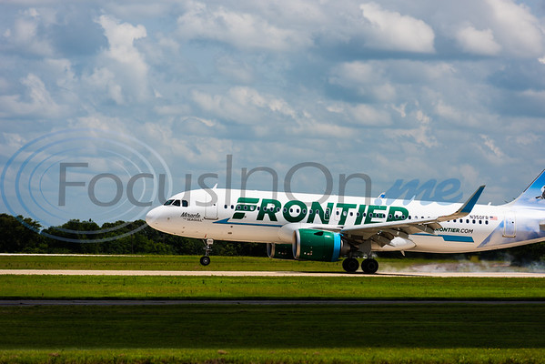 A Frontier Air Bus 320 named Miracle the Seagull makes its landing following an inaugural flight from Denver toTyler Pounds Regional Airport Tuesday in Tyler.