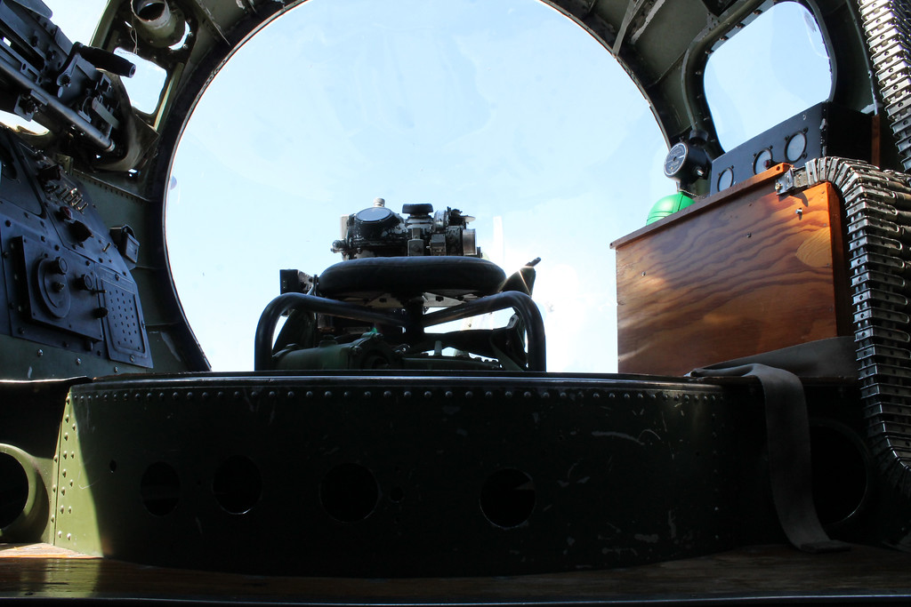 . Harley Marsh/The News-Herald. The view inside the glass nose of the Madras Maiden is shown at the Burke Lakefront Airport in Cleveland July 17, 2017.