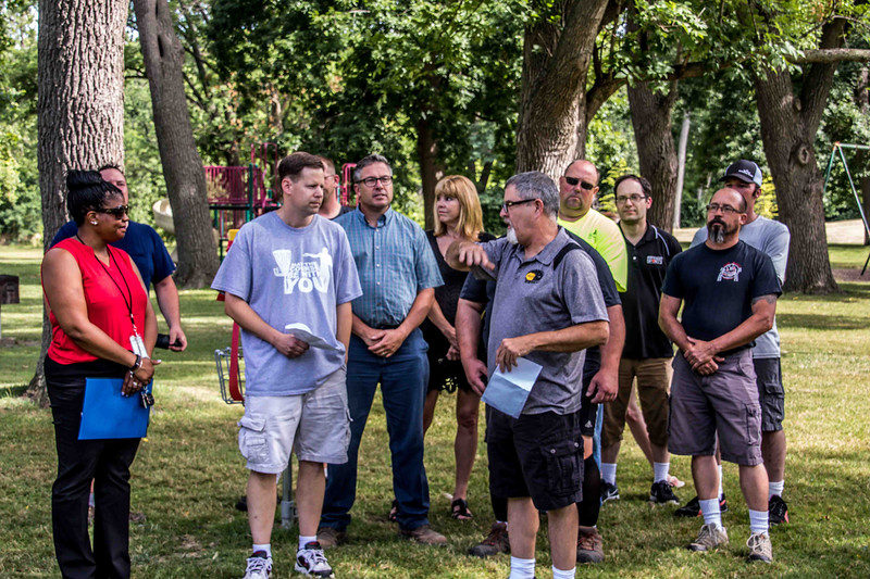Submitted<br /> Painesville Disc Golf Vice President Mickey Anderson shares the history of disc golf at the grand opening at Kiwanis Recreation Park on July 26.