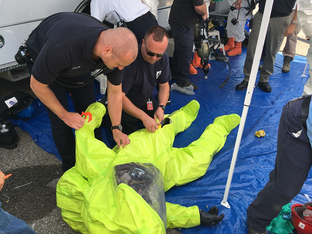 . AT&T\'s Network Disaster Recovery team trained with the Lake County Hazardous Materials Team at the 38043 Third St. AT&T network facility on Aug. 2, 2017. (Andrew Cass - The News-Herald)