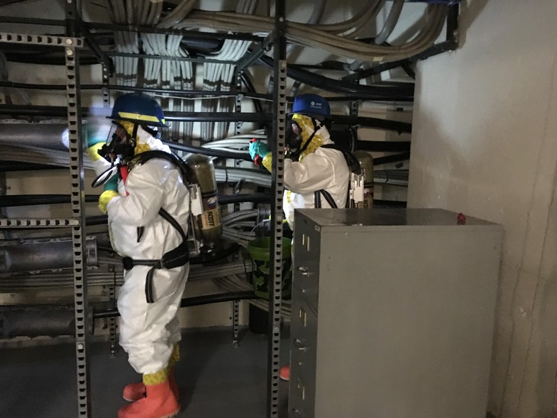 AT&T's Network Disaster Recovery team trained with the Lake County Hazardous Materials Team at the 38043 Third St. AT&T network facility on Aug. 2, 2017. (Andrew Cass - The News-Herald)