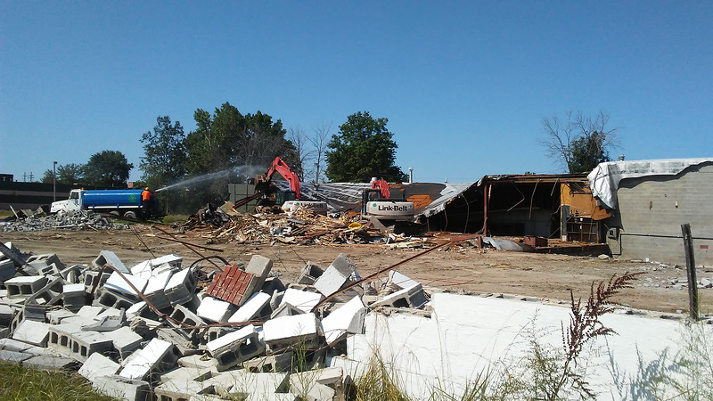 Demolition of some structures is underway on about 20 acres southwest of the interchange to make way for City Market. Here is a view of the demo, just south of Route 2 at Route 615, in Mentor on Aug. 8. (Betsy Scott - The News-Herald)