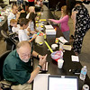 "Jonathan Tressler - The News-Herald. Another scene from the ""Shark Tank'-like collaboration between Avery Dennison, Partners in Science Excellence, a group of five elementary school-aged testers and several area school systems that took place Aug. 9."