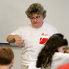 Jonathan Tressler - The News-Herald. Nancy Wentling, an Avery Dennison application consultant, speaks about her team's S.T.E.M. education project Aug. 9 during a team-building exercise in which Partners in Science Excellence participated.