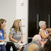 Jonathan Tressler - The News-Herald. Lake County school teachers, from left, Luellen Parkinson with the Painesville City Schools, Jill Makee with the Wickliffe Schoos, Patty Molnar and Michelle Stitz, both from the Willoughby-Eastlake Schools, react to a S.T.E.M. education presentation Aug. 9 at Avery Dennison's facility on Norton Parkway in Mentor.