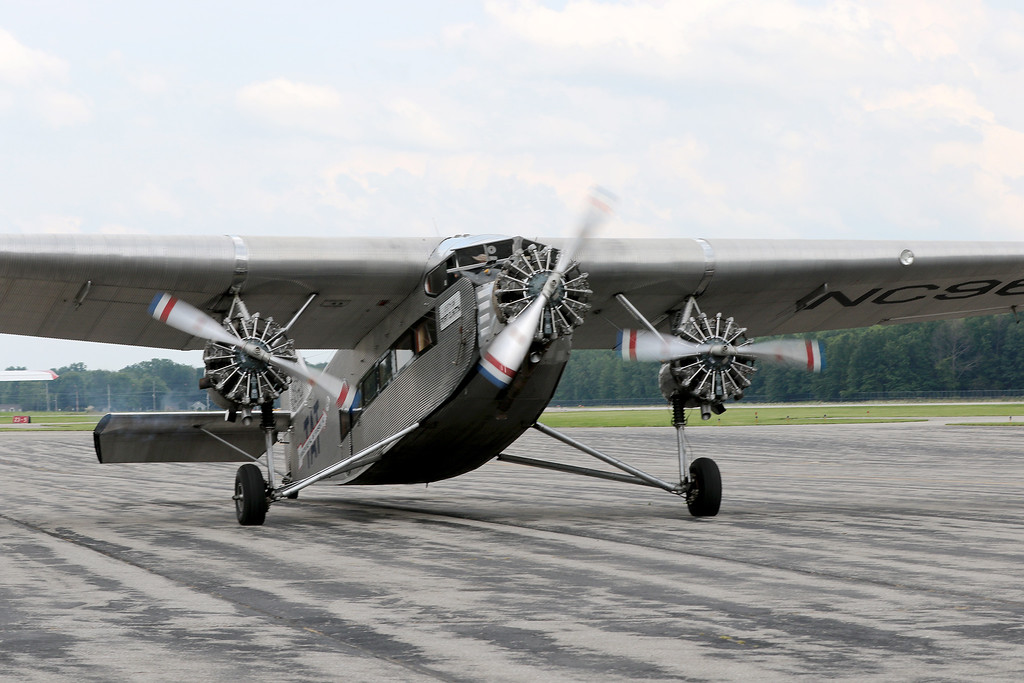 . Jonathan Tressler - The News-Herald. All three engines lit up on the Ford Tri-Motor aircraft visiting Lost Nation Airport through Aug. 12.