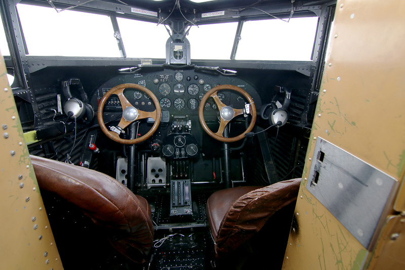 Jonathan Tressler - The News-Herald. A view of the cockpit inside the Ford Tri-Motor aircraft visiting Lost Nation Airport through Aug. 12, photographed Aug. 10.