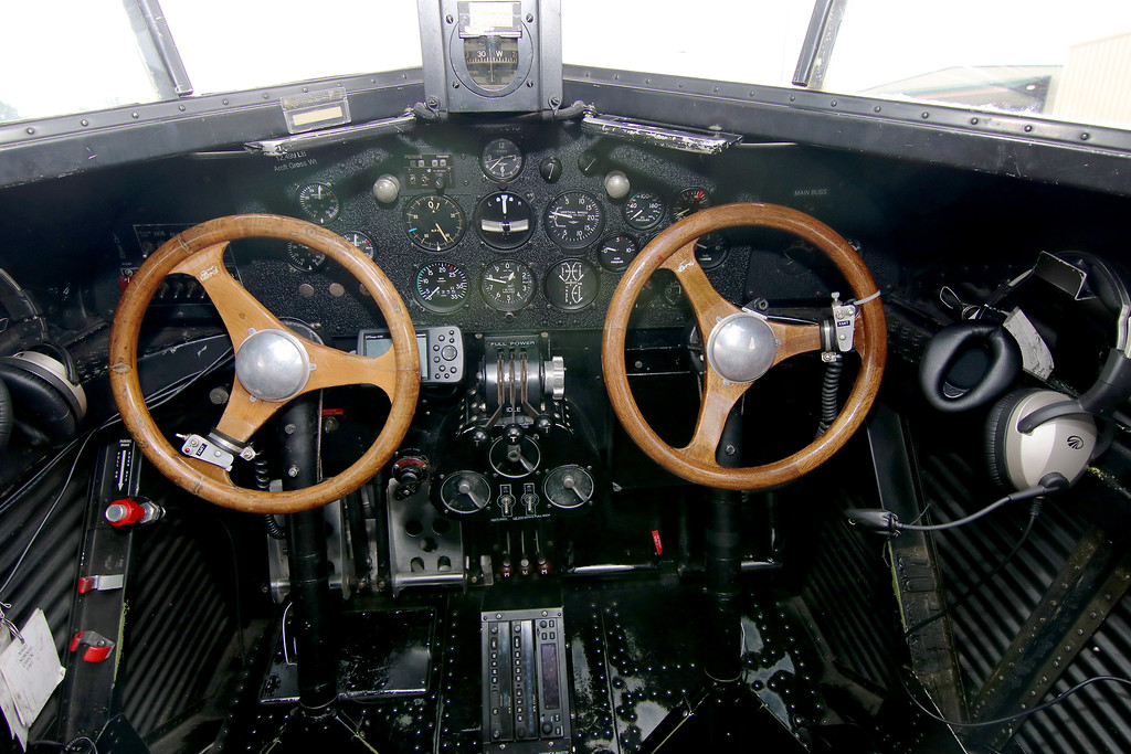 . Jonathan Tressler - The News-Herald. A view of the cockpit inside the Ford Tri-Motor aircraft visiting Lost Nation Airport through Aug. 12, photographed Aug. 10.