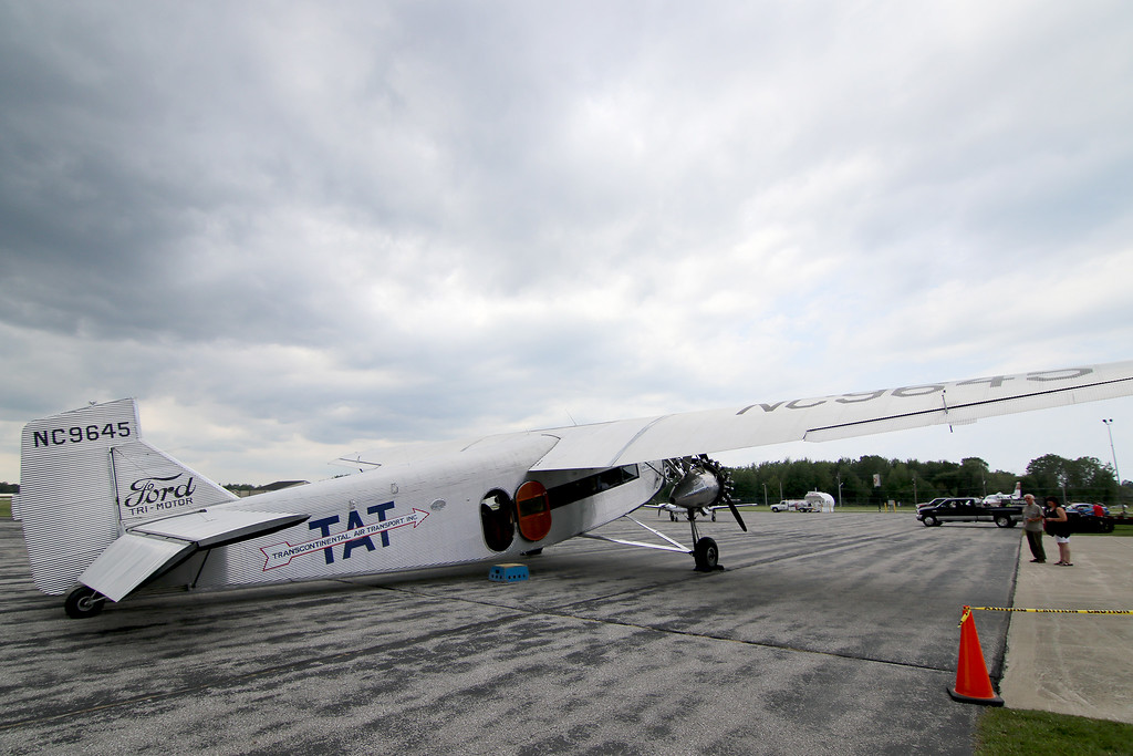 . Jonathan Tressler - The News-Herald. A view of the right-rear of the Ford Tri-Motor aircraft visiting Lost Nation Airport through Aug. 12, photographed Aug. 10.