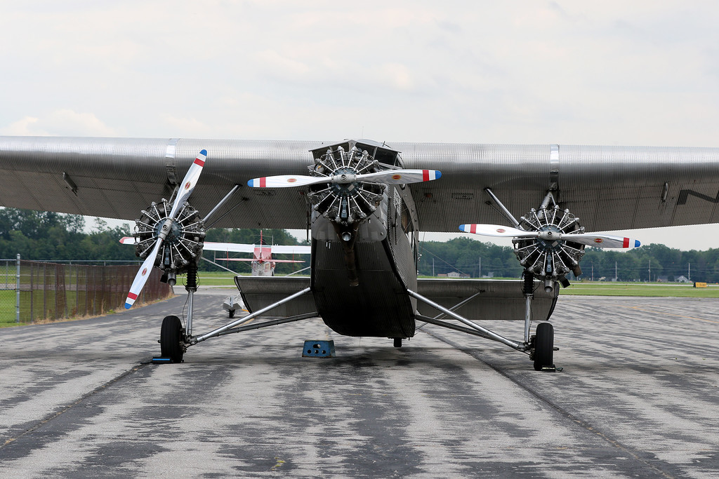 . Jonathan Tressler - The News-Herald. A head-on vantage of the Ford Tri-Motor aircraft visiting Lost Nation Airport through Aug. 12.