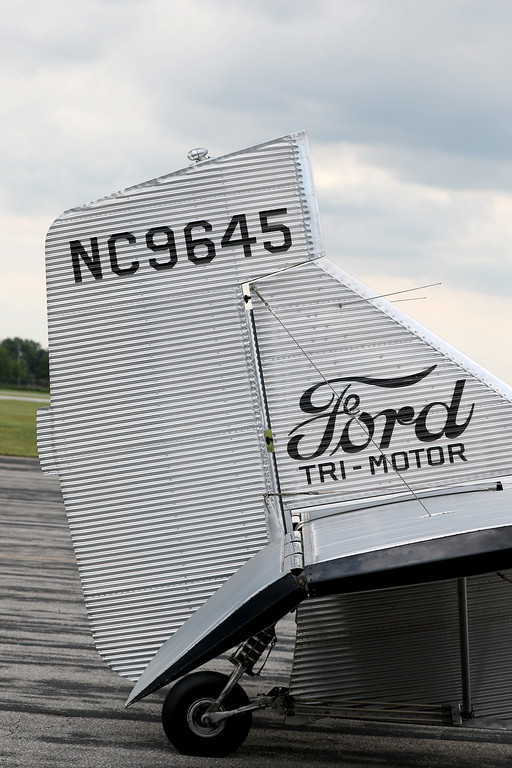 . Jonathan Tressler - The News-Herald. A view of the tail on the Ford Tri-Motor aircraft visiting Lost Nation Airport through Aug. 12.