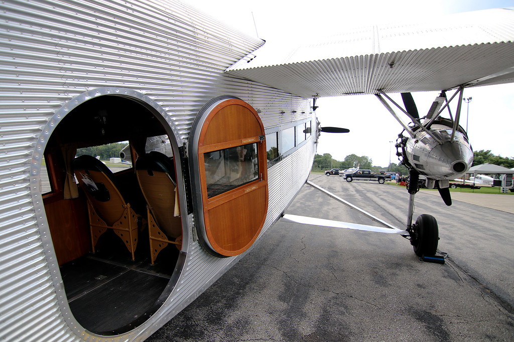 . Jonathan Tressler - The News-Herald. A view of the porthole-esque entry/exit door on the Ford Tri-Motor aircraft visiting Lost Nation Airport through Aug. 12, photographed Aug. 10.