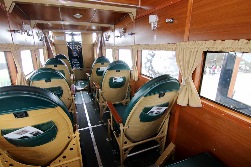 Jonathan Tressler - The News-Herald. A view of the passenger compartment inside the Ford Tri-Motor aircraft visiting Lost Nation Airport through Aug. 12, photographed Aug. 10.