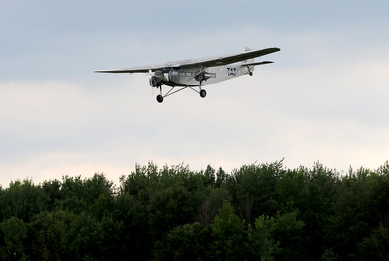 Jonathan Tressler - The News-Herald. The Ford Tri-Motor aircraft visiting Lost Nation Airport through Aug. 12 approaching the runway for landing.