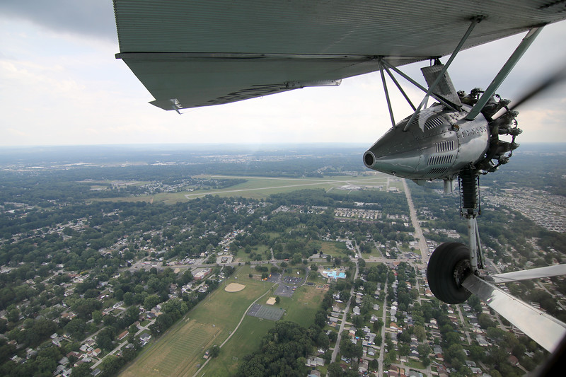 Jonathan Tressler - The News-Herald. A view of the left-most motor on the Ford Tri-Motor plane visiting Northeast Ohio through Aug. 13 is seen in this Aug. 10 image.