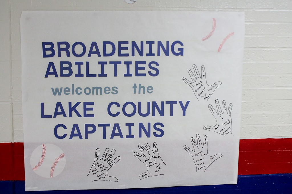 . Kristi Garabrandt � The News-Herald <br> Staff at Broadmoor decorated the hallways and classroom doors with a baseball theme in preparation of the Lake County Captains visit on Aug. 22.