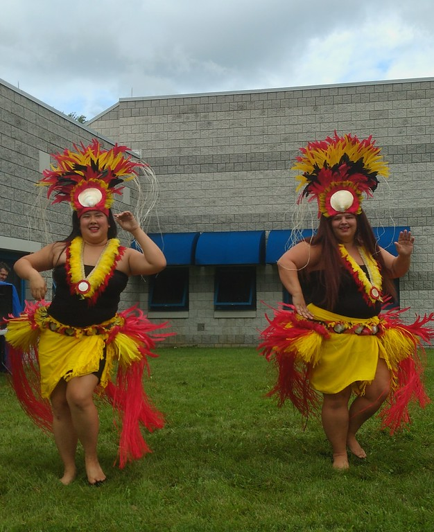 . Submitted art  Roseann Riggins and Tessa Heung of Hula Fusion perform at Deepwood\' s Willoughby Branch annual luau.